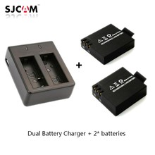 2pcs original SJCAM Sj4000 battery Sj5000 battery + Dual Battery Charger for SJCAM SJ4000 5000 Series Camera Accessories