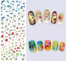 2PCS DIY Nails Art Sticker Colorful Summer Oceans Flowers Coconut Trees Element Nail Wrap Sticker Tips Water transfer(China)