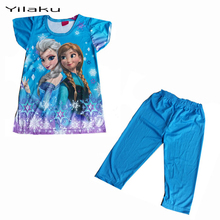Children Cartoon Pajamas Sets Girls Summer Pyjamas Kids Short Sleeve Pijamas Elsa Anna Baby Girl Sleepwear Pijama Infantil CK002