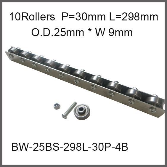 10pcs wheels 30mm Pitch * 298mm Long Skate Wheel Conveyor Wheel 25mm O.D.* 9mm Width Gravity Conveyor roller Capacity 30Kgf<br>
