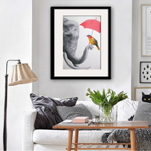 Free Shipping Framed Canvas Painting Art Elephants And Colorful Birds Painting Canvas Print Wall Art Home Decor Decoration