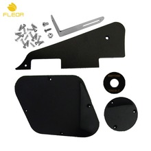 FLEOR 1 Set of 1Ply Black Pickguard /Cavity /Switch Covers/Pickup Selector Plate /Bracket/Screws for LP Guitar Style