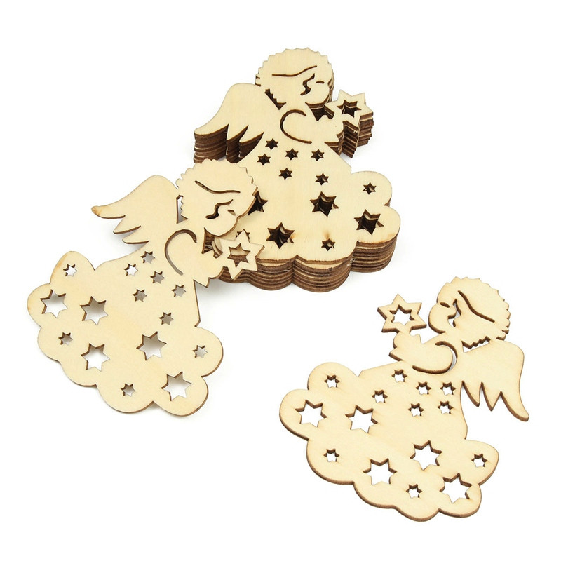 10Pcs/Set Lovely Girl Pattern Carved Wooden Ornament Pendants Embellishment Scrapbooking Card Wall Tree Hanging DIY Decor(China)