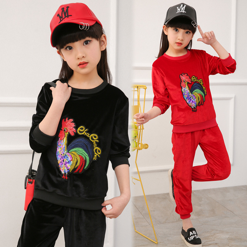 Girl Cock Suit 2 Pieces Set Childrens Garment Spring Clothes New Pattern Korean Children Suit Red Black Kids Clothing<br>
