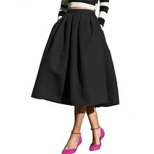 Moda femenina 2018 estilo callejero sólido Casual Flare alta cintura plisado  bolsillos Flare plisado primavera última falda Vint. 10f74e11cb17