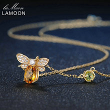 LAMOON Bee 1ct 100% Natural Citrine Fashion 925 Sterling Silver Jewelry 14K Yellow Gold Plated Long Chain Amber Pendant Necklace