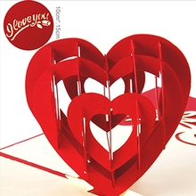 Heart 3D Greeting Card Pop Up Paper Cut Postcard Birthday Valentines Party Gift