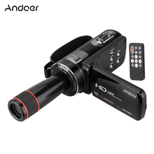 Andoer HDV-Z8 Digital Video Camera 1080P Full HD LCD Touch Screen 16x Digital Zoom Support Face Detection with Telephoto Lens