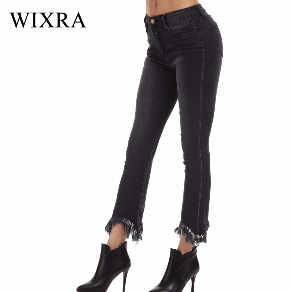 Wixra 2017 New Womens High Street Style Tassel Jeans Fashion Split Front Plus Size Anke-Length Denim Flare Pants For WomenÎäåæäà è àêñåññóàðû<br><br>