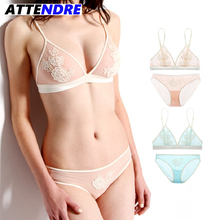 Bra Set Nude Flower Bra Mesh Lace bralette Embroidery Transparent bras Erotic Women hot sexi pic elegant Underwear secret dig(China)