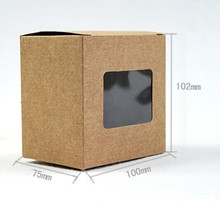 DHL free shipping 10.2*10*7.5cm Kraft Paper Box with window Gift Box Soap Bakery Cake Packaging Boxes 100pcs\lot(China)