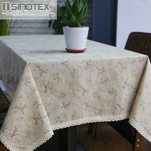 Fashion Dandelion Linen Table Cloth Country Style Flower Print Multifunctional Rectangle Table Cover Tablecloth with Lace Edge(China)