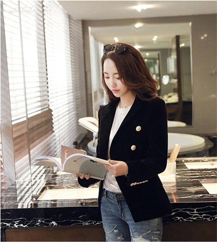 2016 New Spring Fashion Women Midnight Navy Slim Velvet Blazer Jacket Double Breasted simple Lady Blazers (27)