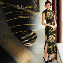 50x118cm Sepcail Flowers Printed Silk Fabric Natural Stretch Satin Elastic Qipao Haute Couture Materiel Tissus