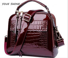 Youe shone Women Bag 2017 Luxury Brand Handbags Patent Leather Women Alligator Messenger Bags Shoulder Bags Big Size Tote FR462