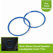 Auto Door Loudspeaker Blue Circle Rings Decoration Frame Trim For Ford Mustang 2015 2016 2017(China)