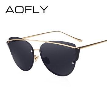 Aofly original óculos de sol da marca 2017 super fashion cat eye mulheres óculos quadro ponte dupla de luxo designer lente revo af79106