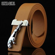 Liva Girl Punk Stylish Male Leopard Pattern Alloy Buckle Belts PU Leather Belts Business High Quality For Men's Accessories