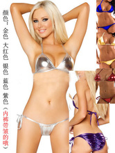 New Arrival Sexy Wet Look Two Pieces Metallic Removable Strings Bikini Shiny Swimsuit Swimwear Metallic Micro Lingerie