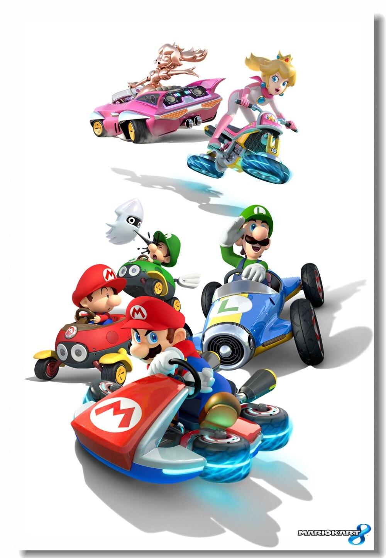 Mario Race Car Decal Removable Wall Sticker Decor Art Super Smash Bros Kart
