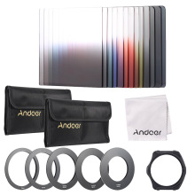 Andoer 13pcs Gradient Full Color Filter Bundle Kit for Cokin P Series with Filter Holder Adapter Ring Storage Bag Cleaning Cloth(China)