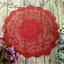 Vintage DIY Handmade Crochet Coaster Doily Flower Tray Pad Decoration Cushion Cover European Round Table Cup Mats 50CM 6PCS/LOT