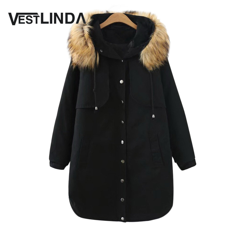 VESTLINDA Winter Parkas 2017 Trendy Fur Collar Hooded Long Sleeve Parka Women Coat Warm Cotton Black Red Outerwear Big SizeÎäåæäà è àêñåññóàðû<br><br>