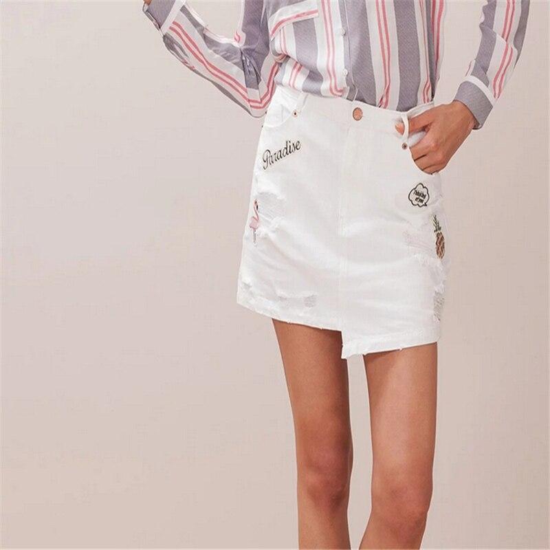White Ripped Denim Skirt Promotion-Shop for Promotional White ...