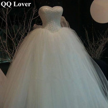 Buy QQ Lover 2018 New Sexy Pearls Beaded Wedding Dress Cheap Custom-made Plus Size Bride Wedding Gown Vestido De Noiva for $129.20 in AliExpress store
