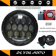 "Best price LED 7 inch front light for Jeep Wrangler 85w round 12v DC headlight led DRL hiqh quality super bright 7"" for Harley(China)"