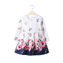 2017 baby girls Clothes print flowers Princess long sleeve cotton tutu autumn spring dress Kids Party clothing white dresses(China)