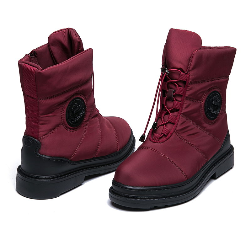 AIMEIGAO High Quality Warm Fur Snow Boots Women Plush Insole Waterproof Boots Platform Heels Red Black Winter Women Boots