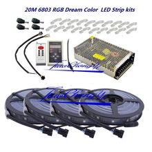New 5050 RGB Dream Color 6803 LED Strip Black PCB +IC 6803 RF Remote Controll +Power adapter