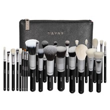 YAVAY 25pcs Original Professional Luxury Artist Makeup Brush Set Animal Hair Synthetic Hair Brushes With PU Leather bag Case