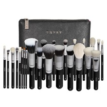 YAVAY 25pcs Original Professional Luxury Artist Makeup Brush Set Animal Hair Synthetic Hair Brushes With PU Leather bag Case(China)