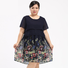 Brand Plus Big Size Womens Chiffon Dress 2017 New Floral Printing Pattern Dresses Women Summer Clothes Large Yards 6XL 8XL 10XL