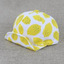 Fashion Summer Children Cotton Hat Cartoon Lemon Printed Infant Baseball Cap Soft Brim Kids Sun Hats For 6-36 Month Baby New(China)