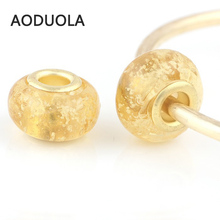 10 Pcs a Lot Gold-Color Glass yellow Beads Round DIY Big Hole Beads Spacer Luminous Bead Charm Fit For Pandora Charms Bracelet(China)