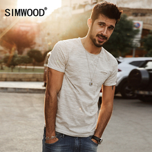 SIMWOOD 2017 New Spring  Summer T shirts Men Fashion curling short - sleeved Slim stretch Vintage Tees TD1129