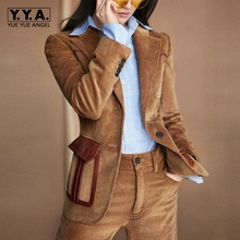 Star Style Western Sets Female Winter Leisure Temperament Corduroy Suit Jacket Two-Piece Sets Turn Down Collar Top Quality Brand(China)