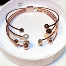 Fashion Luxury Crystal Cuff Bracelets Bangles Brand Rose Gold Color Simulated Pearl Bangles& Bracelets Jewelry Women 121K