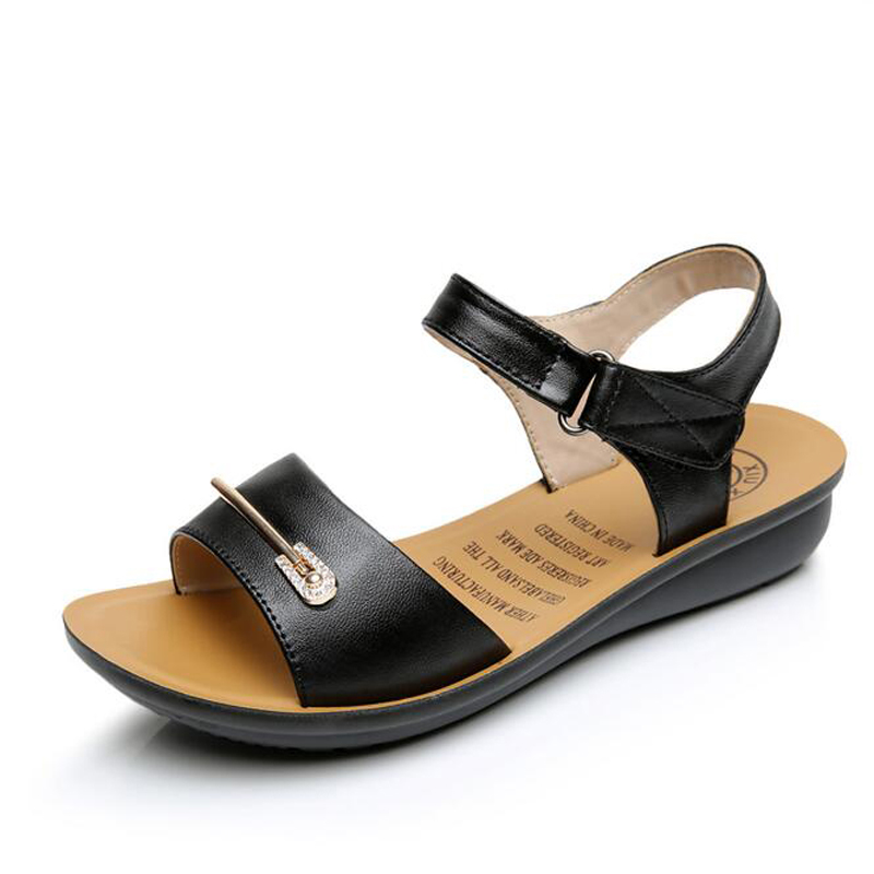 Women sandals 2017 new arrival comfortable high quality genuine leather sandals women hook &amp; loop flat casual sandalias mujer<br><br>Aliexpress