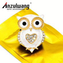 ANZULWANG Golden Owl Car Air Condition Perfume Owl Shape Car Interior Air Freshener Artificial Crystal Car Air Outlet Perfume(China)