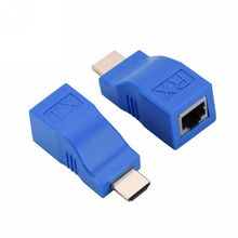2pcs 1080P HDMI Extender to RJ45 Over Cat 5e/6 Network Adapter Signal Amplifier For HDTV Display