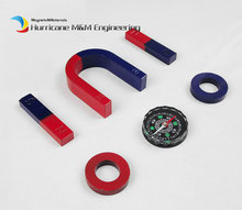 1 Set Ferrite Magnet Experiment Magnet Kits Middle Type Bar U and Ring with Compass blue red / Toy magnet Magnetic Teaching Tool