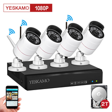 Yeskamo home Security ip camera outdoor cctv surveillance camera system alarm and 1080p HD 4 Channel NVR Recorder 2TB Hard Disk(China)