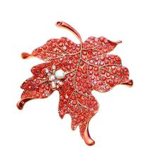 Multi Color Crystal Maple Leaf Brooch Pin Plant Costume Jewelry For Women 2017 new fashion(China)
