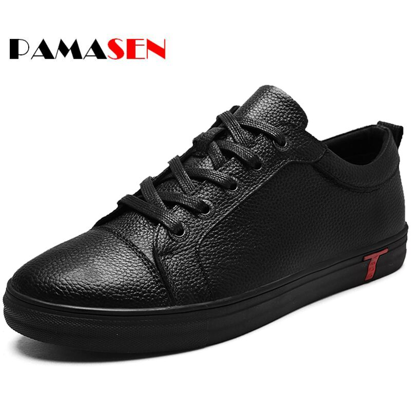 PAMASEN Men Genuine Leather Shoes Lace-Up Black Shoe Real Leather Loafers Mens Moccasins Italian Designer Flats Shoes Size 38-48<br>