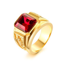 Fashion Men's Gold color red stone ring With Engraved kite design stainless steel wedding ring Jewerly