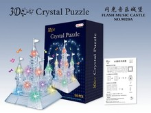 New Arrival 3D Crystal Puzzles Flash Music Castle Educational Toys Christmas Kid's Present New Year Gift(China)